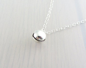 Silver Bell Necklace, Silver Bell Pendant, Bell Charm Necklace, Jingle Bell Silver Plated Chain Necklace