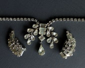 Vintage 1950s Kramer Rhinestone Choker Necklace with Matching Earings Bridal Set