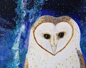 Owl - 10x10 Fine Art Giclee Print - Barn Owl - Stars - Night Sky - Galaxy - Nature - Blue- White Bird - Painting - Whimsical - Children