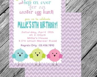 Chevron Easter -- Chicks, Egg Hunt, Birthday, Brunch -- Printable Invitation