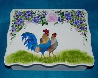 Decorative Wooden Wedding Keepsake Box Wedding Gift Card Box Wedding Memory Card Box Wedding Trunk Personalized Custom Rooster Large Box