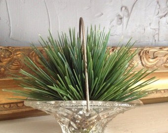 Artificial Wheat Grass in Glass Handled Basket