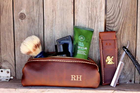 Custom Groomsman Gift Personalized Leather HANDMADE Shaving Kit Bag w/ Straigt Razor Sleeve Groomsman Groomsmen Gifts Groom OOAK Dopp Kit