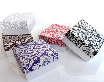 100 assorted Damask print and Silver Wedding favor box,Packaging box, Bridesmaid Gift box, Jewelry Packaging Boxes