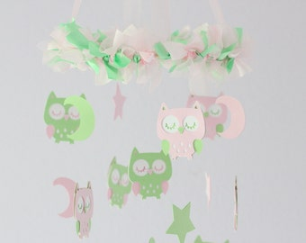Owl Nursery Mobile in Baby Pink & Mint- Baby Mobile, Crib Mobile, Baby Shower Gift