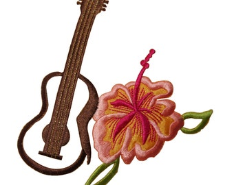 ID #6320 Ukulele and Hibiscus Flower Hawaii Iron On Embroidered Applique Patch