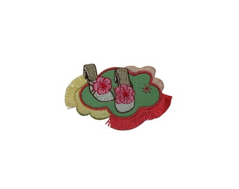 ID #7391 Green Flower Sandal Frill Fashion Iron On Embroidered Patch Applique