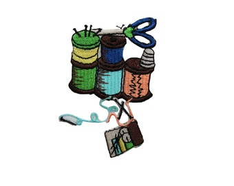 ID #7549 Multicolor Spools Thread Sewing Kit Iron On Embroidered Patch Applique