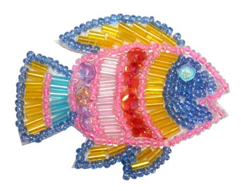 ID #8875 Colorful Tropical Aquarium Fish Animal Beaded Iron On Applique Patch
