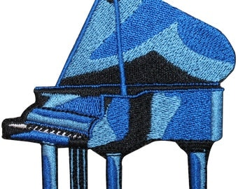 ID #3175 Blue Grand Piano Musical Instrument Embroidered Iron On Badge Applique Patch