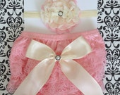 Baby Girls Petti Lace Bloomer Diaper Cover set, Pink Lace Bloomers, baby girl bloomers, 0-6 months Diaper Cover,Baby Shower Gift, Photo Prop