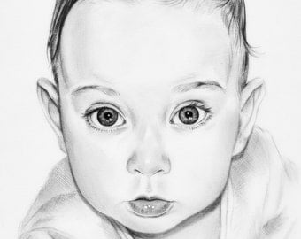 Custom Baby portrait, Pencil Drawing from your photo, Sketch, Portraits by commission, Original artwork, Realistic, FREE Digital Format