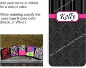 Personalized iPhone Case with Black Damask/Pinstripes & Hot Pink. iPhone 4/4s or iPhone 5/5s cases available. Great Gift Idea