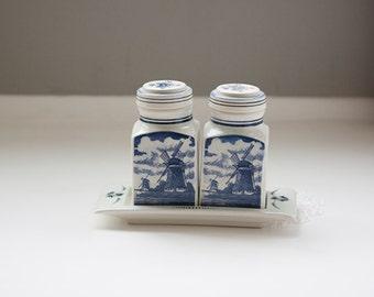 Vintage Delft Blauw, Delft Blue Ceramic Jars with Tray