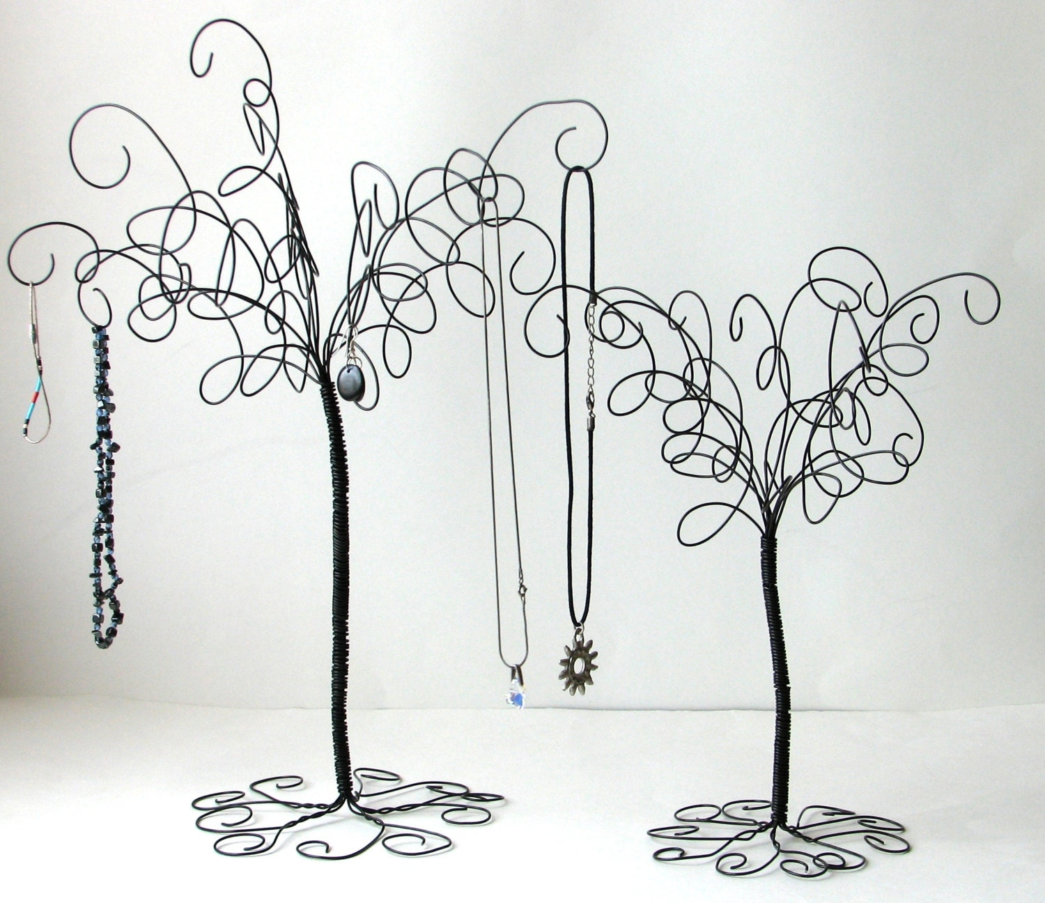 2 wire jewelry tree stands earring ringsbracelets for How to make a wire tree jewelry stand