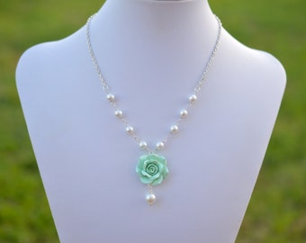 1 necklace  Light Mint Green flower necklace, Tiffany Mint Rose Necklace, Dusty Mint RoseNecklace.