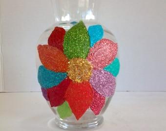 Colorful flower vase, glass vase, multi color flower #46