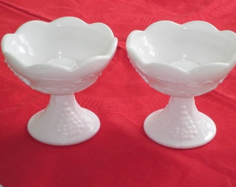 Vintage Milk Glass PANELLED GRAPE Candle Holders