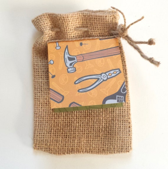 Burlap Bag and Tag / Father's Day / Tool Handyman for Gift Cards Cash or Candy