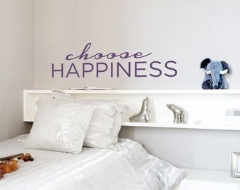 Choose Happiness Vinyl Wall Quote Decal Sticker, Inspirational Wall Quote, Typography Decal, Happy Wall Art, Make A Choice, Happy Wall Decal