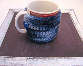 Blue Ombre Coffee Cozy, Mug Cozy, Tea Cozy, Stocking Stuffer, Autumn Cozy, Gift Idea, Large Blue Cozy, Fall Find