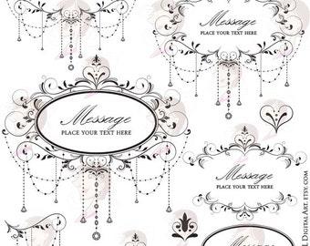 Wedding Digital Clipart Frame Elegant Chandelier Classic Designs Flourishes Swirls Retro Leaves Floral Foliage Scrapbook Embellishment 10347
