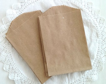"20 mini kraft bags - 2.75 x 4"" inches - brown kraft bags - penny candy bags - itty bitty bags"