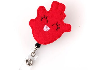 Haley Heart - Cardiac Nurse Badge Pull - Cute Badge Reels - CVU Retractable ID Badge Holder - Felt Badge Reel - RN Badge - Badge Blooms