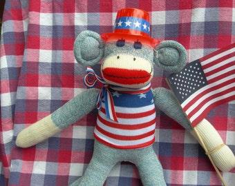 Yankee Doodle Dandy Patriotic/July 4th Classic Red Heel Denim Sock Monkey Doll