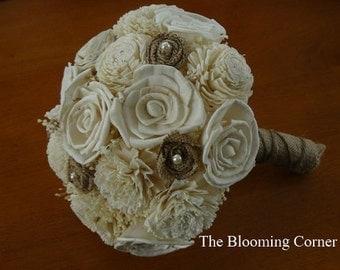 Wedding Burlap Bouquet, Sola Bouquet, Alternative Bouquet, Burlap Bouquet, Handmade Bouquet,