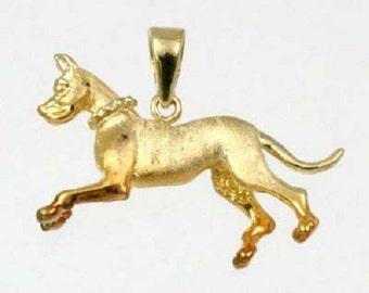 3D RUNNING GRATE DANE Charm in 14k Yellow Gold 24-8