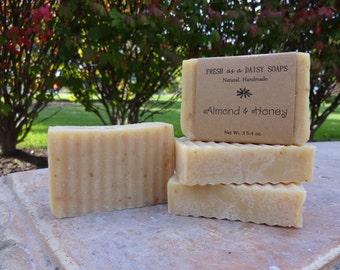 Almond & Honey, Handmade Soap, Unscented, Moisturizing Facial soap, 100% Natural