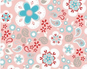 Twice as Nice by The Quilted Fish Riley Blake Fabric - Main Pink - 1 Yard Cut - Cotton Fabric