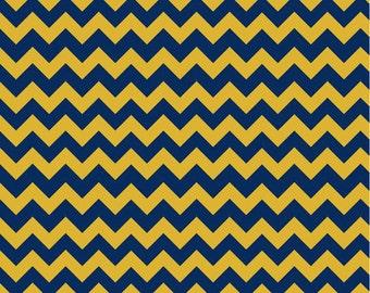 """Small Chevron Blue/Gold - 22"""" Cut -  Riley Blake Designs - Cotton Fabric  - Chevron Fabric"""