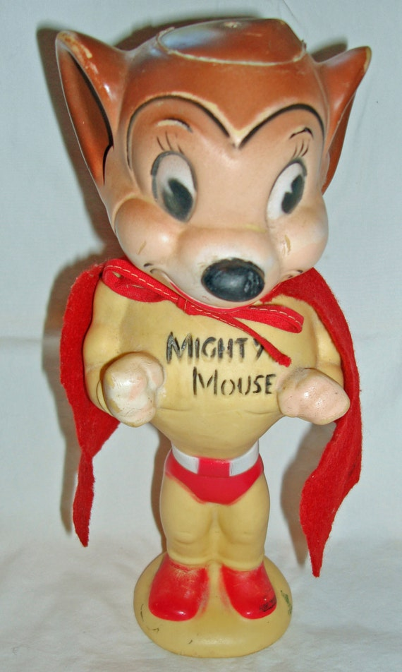 1950 1960 Vintage Terryton Mighty Mouse Rubber Squeaky Doll