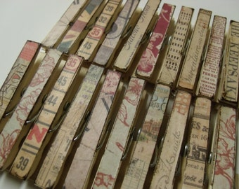 Clothes pins set of 10 - vintage style paper chip clip