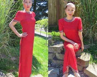 Vintage 80s red beaded dress/ formal red beaded dress/ long red dress/ red prom dress/ silk red dress/ red formal party dress/ red glamour