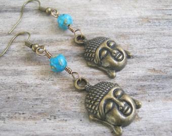 Turquoise Buddha Earrings, Buddhist Earrings, Composite Turquoise Earrings,  Buddha Jewelry, Boho Earrings, Yoga Earrings, Blue & Bronze, Om