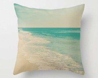 Pillow cover, beach pillow, turquoise pillow, aqua pillow, mint pillow, beach art, spring decor, couch pillow, nautical nursery decor~