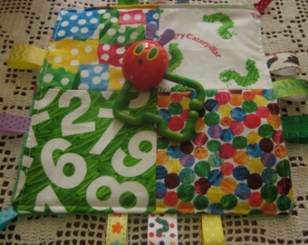 Baby girl, Baby Boy, Baby crinkle toy, Caterpillar, Storybook, 10x10, 4 square top complete with 2 plastic removable links