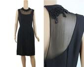 Beaded Turtleneck Dress - 1960s Black Dress High Collar Aristocrat Luxury Party Dress Rich Girl Gothic Dress Bombshell Dress Medium L Large