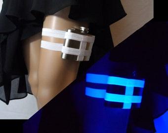 Black Light Reactive white Flask Garter - 4oz Flask - adjustable flask holder garter