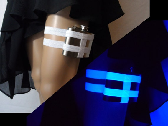 Black Light Reactive white Flask Garter - 4oz Flask - adjustable flask holder garter