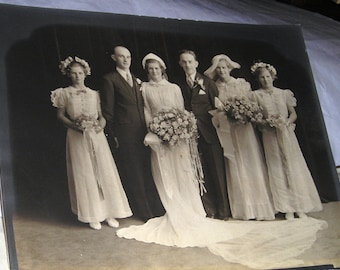Reduced Price.....1930's  Studio Wedding Photo....Long Bridal Train....Large Bouquets...Large Hats