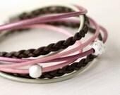 Leather Wrap Bracelet - Romantic Rose Pink, Chocolate Brown & Mint Leather Wrap Bracelet- Gift For Her