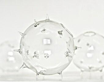 Pokey Glass Globe Vase, Pokey Ball Flower Vase, Pokey Vase, Pokey Glass Vase, Glass Urchin Vase, Glass Sea Urchin Vase