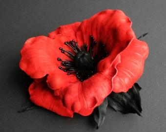 Red  Leather Poppy Flower Brooch