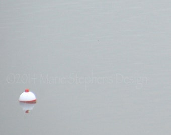 Art, Photography Fishing, Red, White, Floating Bobber, 5 x 7, Wall Art