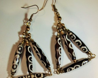 Earrings Handmade Wire Wrap Bone Bronze Wire Customized Ear Wires Big Bold Exotic Tribal Ethnic Original Design Pyramid Triangle Shape