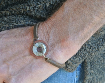Mens Hardware Washer Bracelet with Brown Leather and Gun Metal